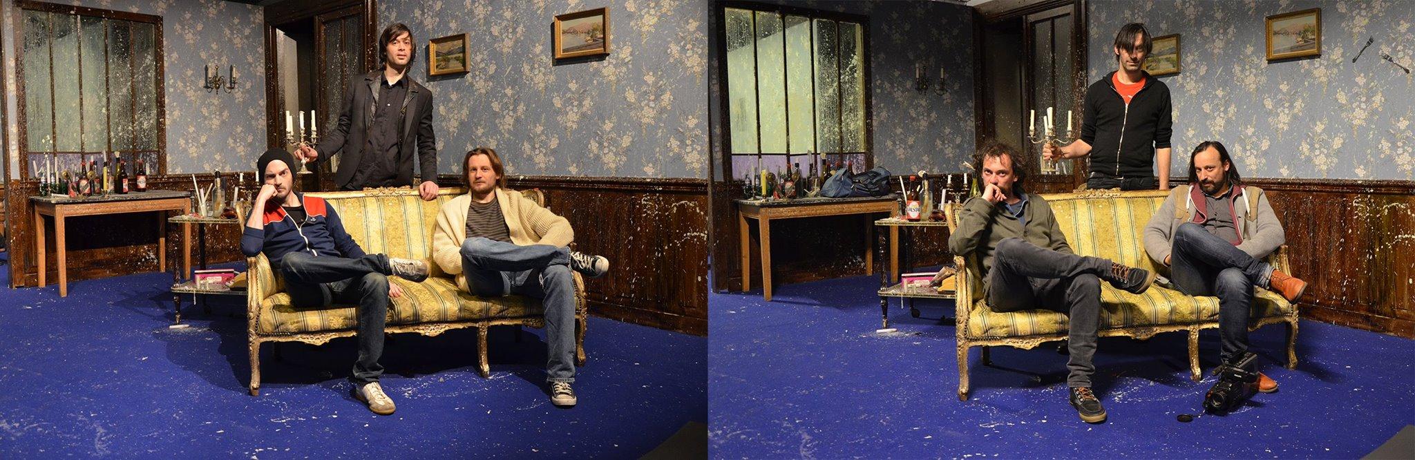 """À gauche : Claude Schmitz, Nicolas Luçon et Ugo Dehaes, acteurs dans """"Bleu Bleu"""" de Stéphane Arcas. À droite, les originaux..."""