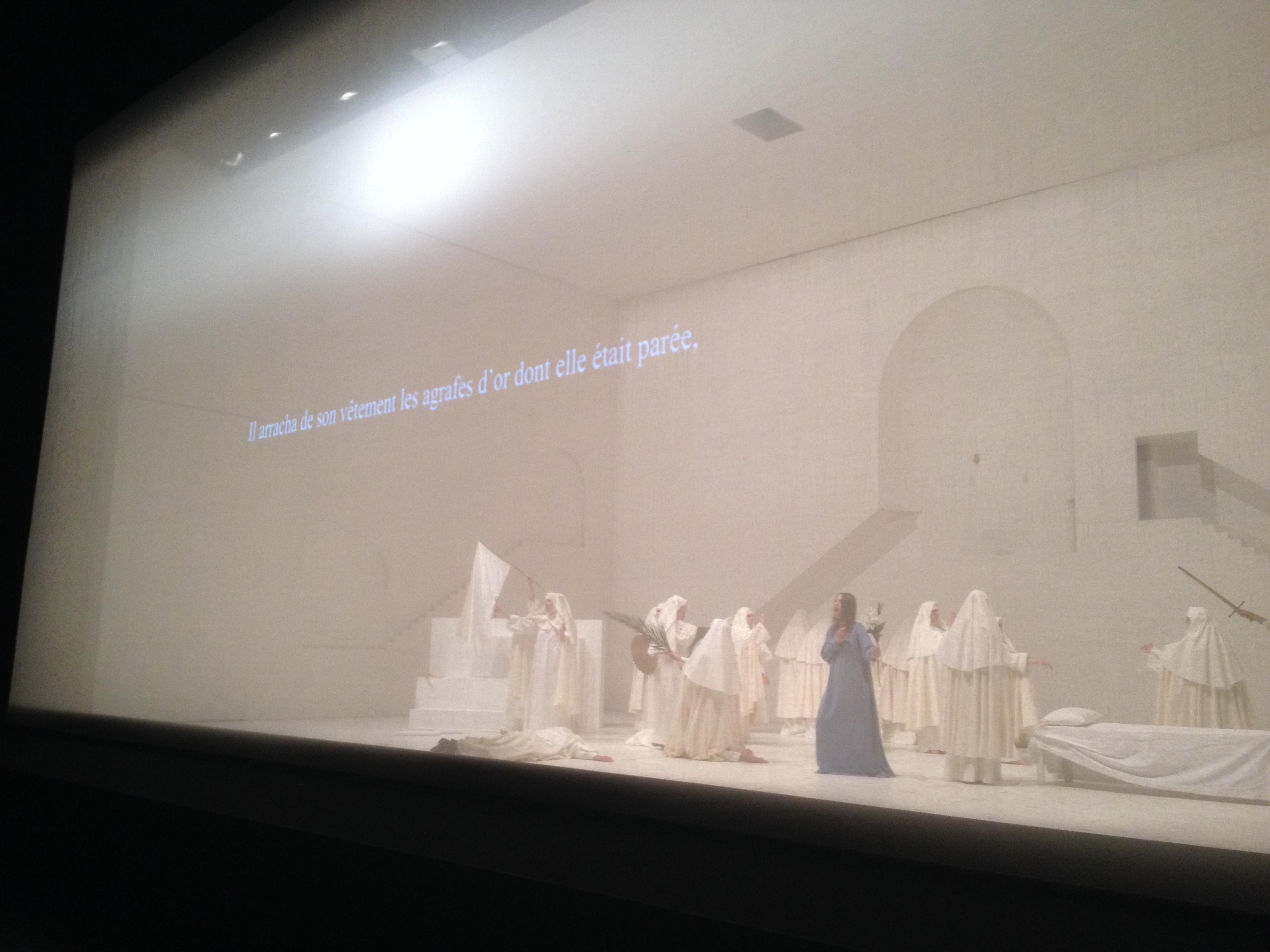 """""""Odypus der Tyran"""", mise en scène de Romeo Castellucci, régie surtitre Michel Bataillon. Photo © Pierre-Yves Diez"""