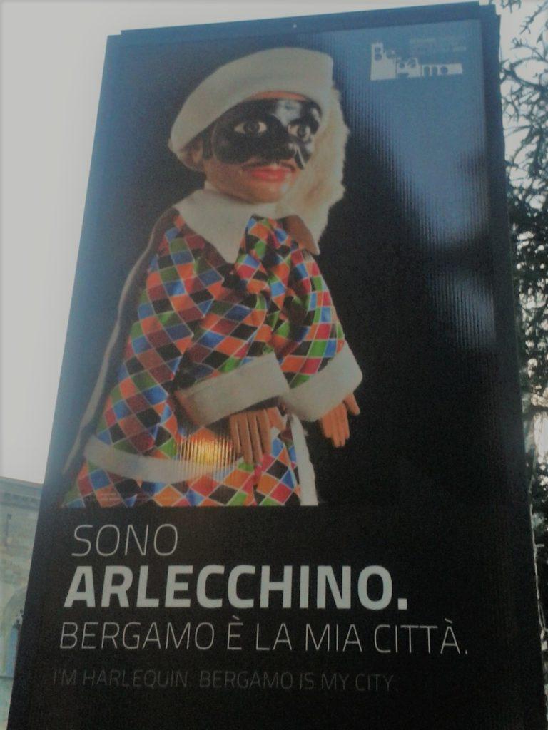 Bergamo, città alta, Italia, enseigne publique, Février 2013