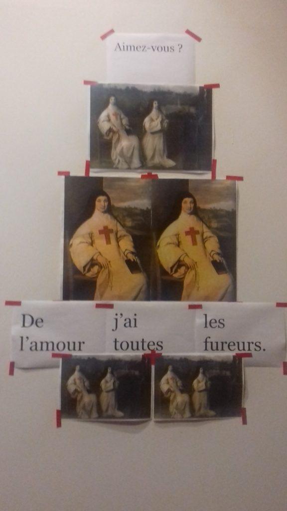 Le LoKal, Compagnie Jean-Michel Rabeux, murs du couloir d'entrée, collages, Temps Nu Avec Texte [1] : Phèdre/Brisures d'après Jean Racine, Saint-Denis, Juin 2019