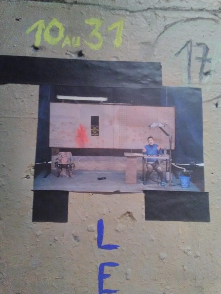 Théâtre de l'Aquarium, mur du foyer, collage, Bruit théâtre et musique, Cartoucherie, Paris, Janvier 2020